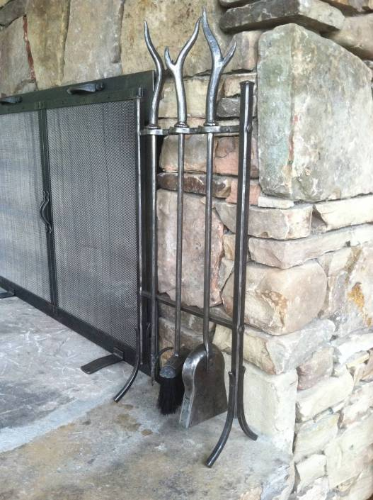 Custom Double Fireplace Screen with Tools