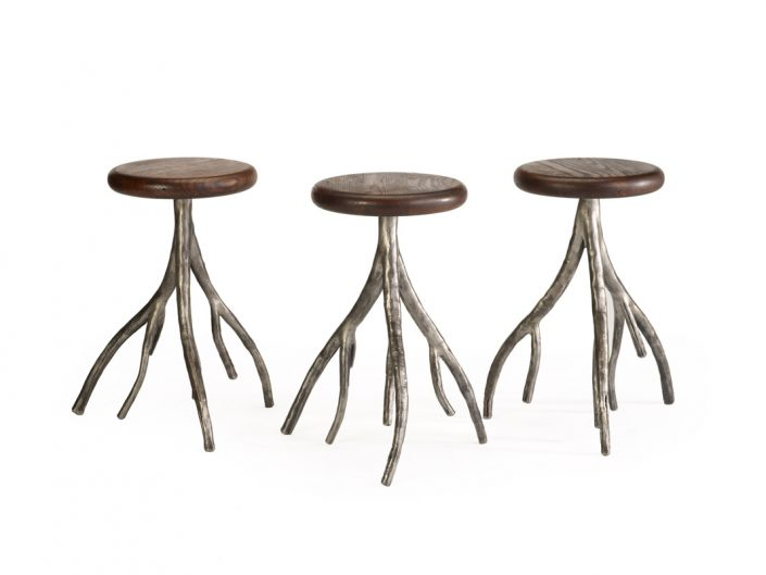Custom designed stools with iron legs