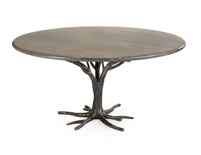 metal table with hand forged base - top view