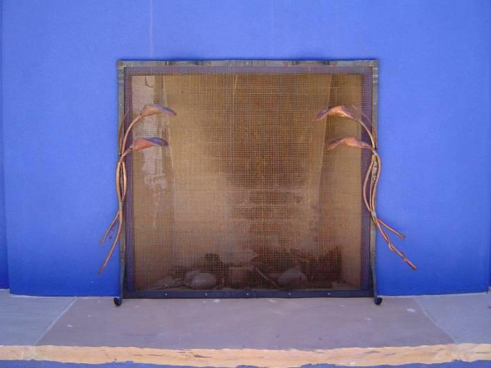 Custom Lily Fireplace Screen