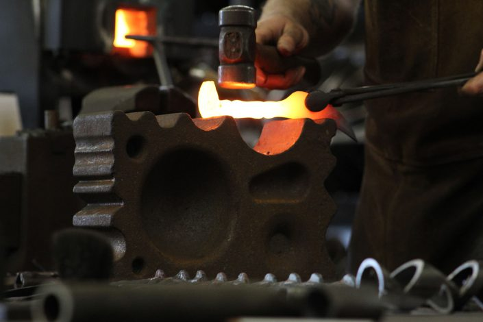 shaping iron into railroad knife