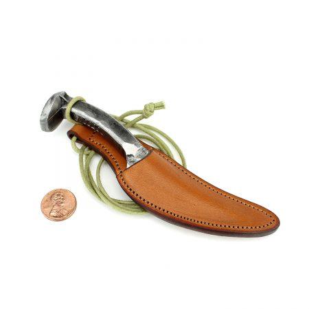 Leather Knife Sheath Necklace Tan